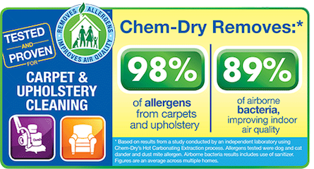 Chem-Dry of Bellingham removes 98% of allergens from carpet and upholstery and 89% of airborne bacteria